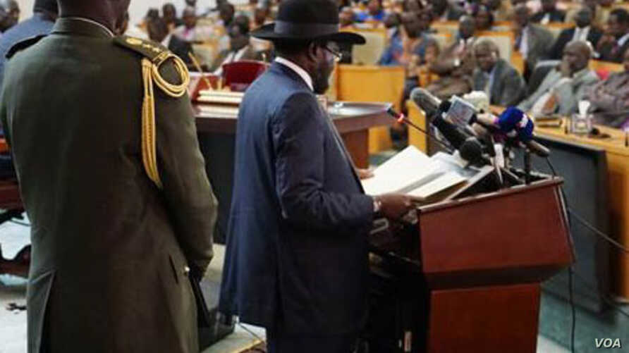 South Sudanese President Salva Kiir delivers a speech to lawmakers on Wednesday, July 8, 2015, as he begins a new, 3-year term in office. Parliament voted in March 2015 to extend the terms of all elected officials in South Sudan to avoid a power vacu