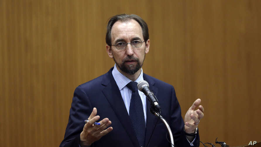FILE - U.N. High Commissioner for Human Rights Zeid Ra'ad Al Hussein answers a question after he delivered a speech on Korea in the human rights world during a lecture at Yonsei University in Seoul, South Korea on June 24, 2015.