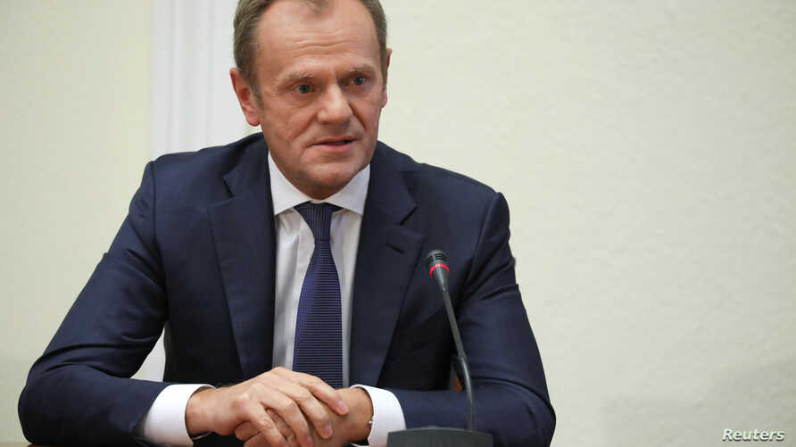 European Council President Donald Tusk testifies on Amber Gold pyramid scheme, at the parliamentary panel in Warsaw, Poland, Nov. 5, 2018.