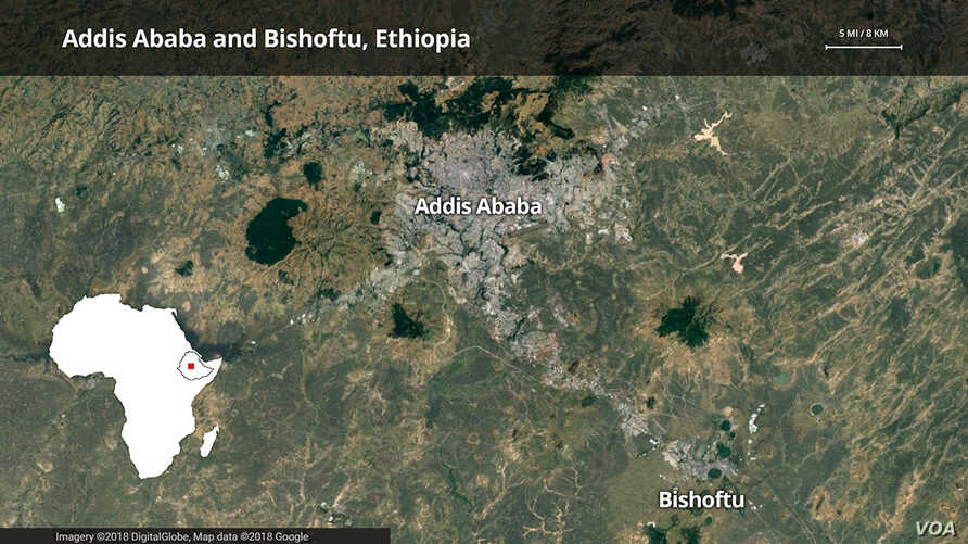 Addis Ababa and Bishoftu, Ethiopia map