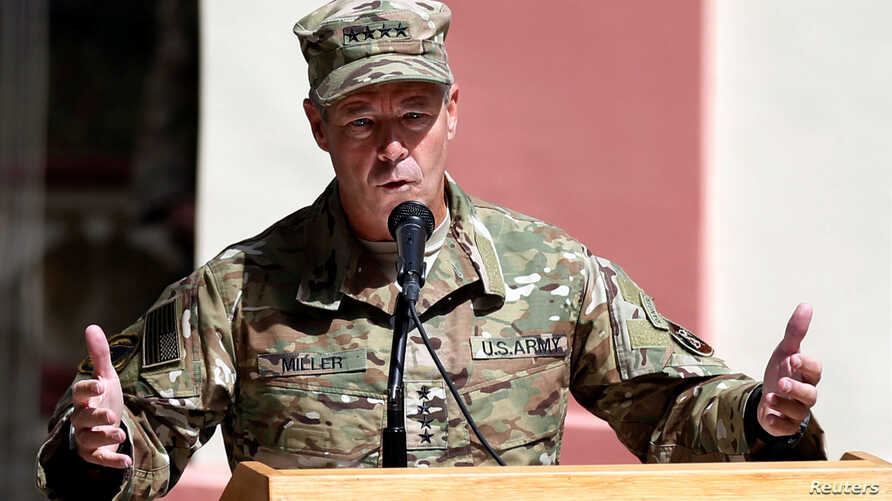 Incoming Commander of Resolute Support forces and command of NATO forces in Afghanistan, U.S. Army General Scott Miller speaks during a change of command ceremony in Resolute Support headquarters in Kabul, Afghanistan, Sept. 2, 2018.