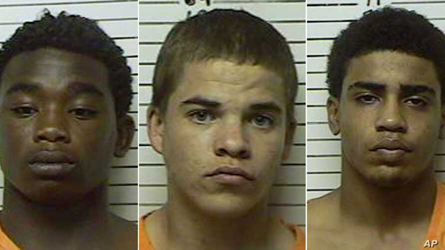 This combination made with booking photos provided by the Stephens County, Oklahoma Sheriffs Department, shows, from left, James Francis Edwards Jr., 15, Michael Dewayne Jones, 17, and Chancey Allen Luna, 16, all of Duncan, Oklahoma.