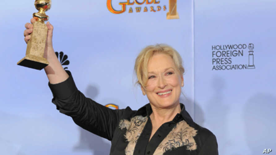 """Meryl Streep won a Golden Globe for best actress in a motion picture drama for """"The Iron Lady,"""" and is also nominated for an Oscar."""