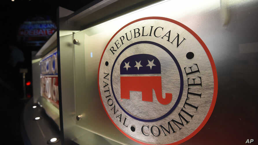 FILE - The logo of the Republican National committee, shown ahead of a GOP candidates debate during the 2016 presidential campaign in North Charleston, S.C.