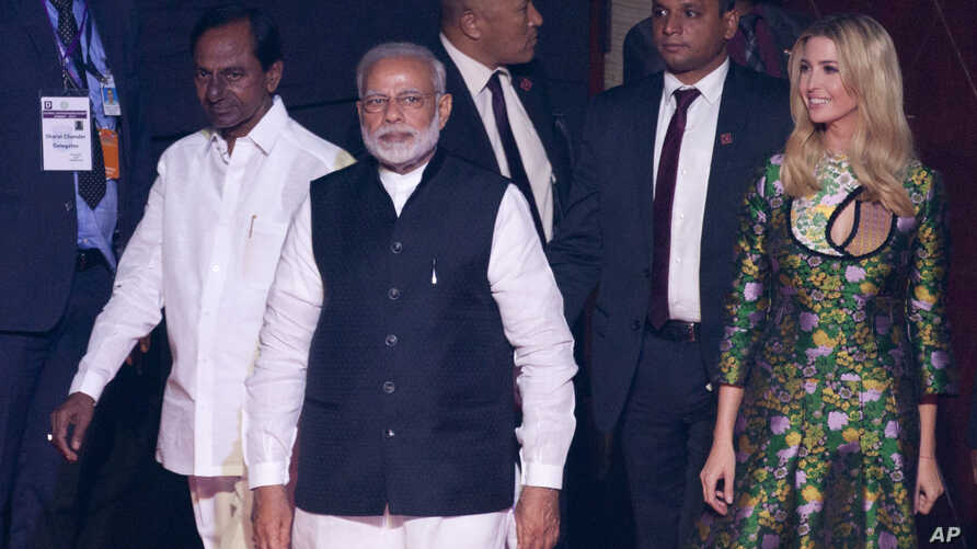 Indian Prime Minister Narendra Modi, front, U.S. presidential adviser and daughter Ivanka Trump, right, and Telangana state Chief Minister K. Chandrashekara Rao arrive for the opening of the Global Entrepreneurship Summit in Hyderabad, India, Tuesday...