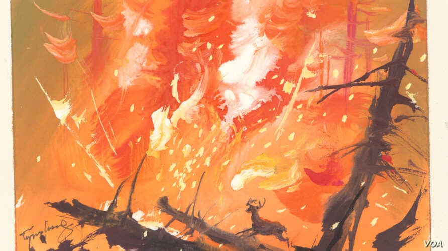 Tyrus Wong's watercolor visualization for Bambi of the fire in the forest