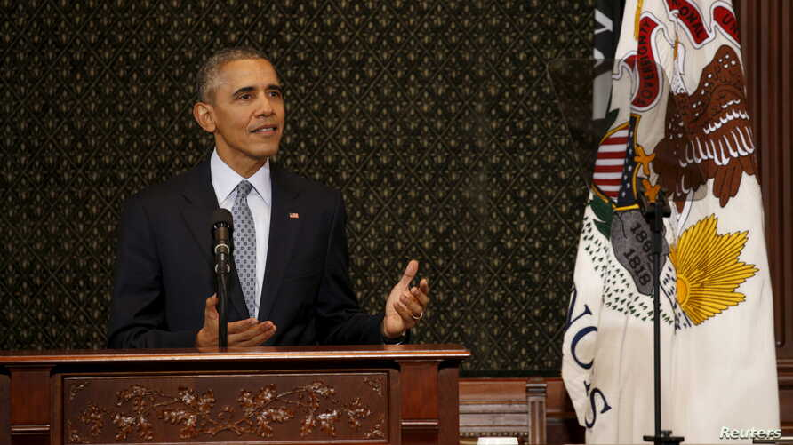 U.S. President Barack Obama addresses the Illinois General Assembly during a visit to Springfield, Illinois, Feb.10, 2016.