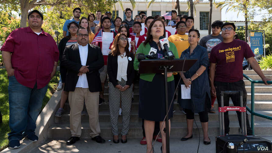 Angelica Salas of the Coalition for Humane Immigrant Rights of Los Angeles announces the Million Voters Project, an effort to sign up new voters before the November 8 election, in Glendale, Calif., July 19, 2016. (Credit: Ronen Tivony)