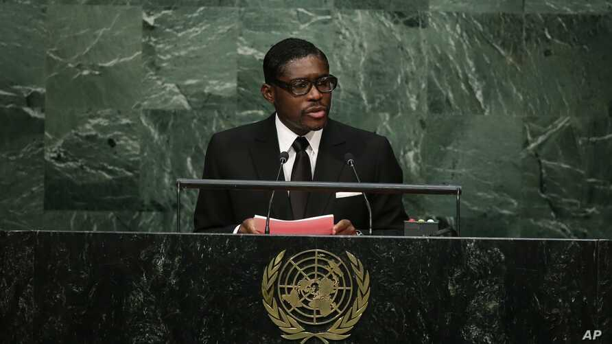 FILE - bTeodoro Nguema Obiang Mangue, Vice-President of Equatorial Guinea, speaks during the 70th session of the United Nations General Assembly at U.N. headquarters, Sept. 30, 2015.
