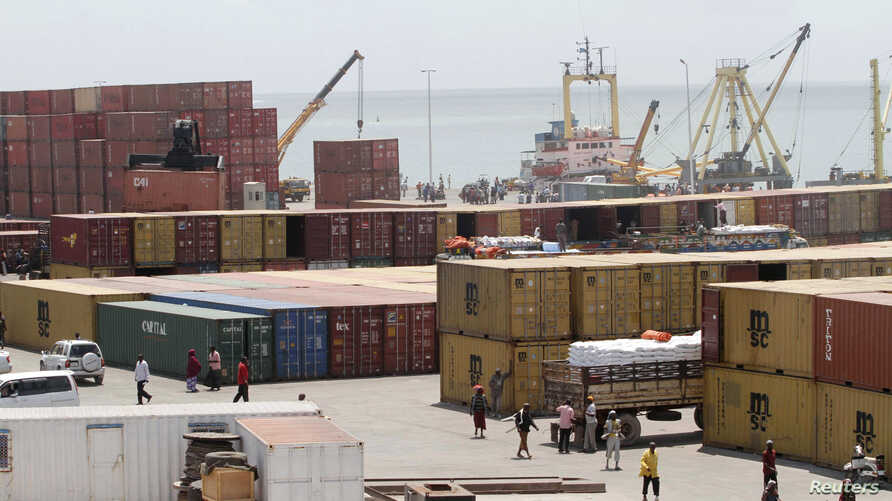 FILE - A general view shows activities at Somalia's port of Mogadishu.