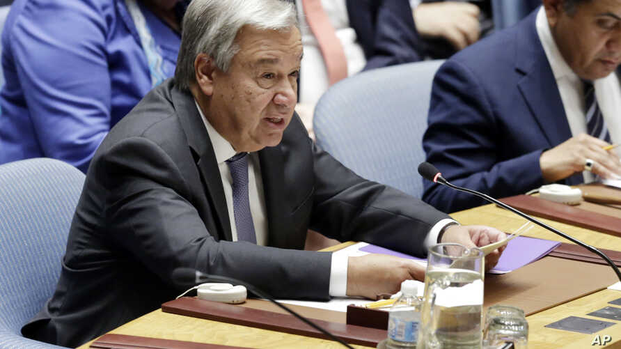 United Nations Secretary General Antonio Guterres addresses the United Nations Security Council, Aug. 29, 2018, at the U.N. headquarters in New York.