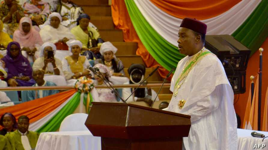 Niger's President Mahamadou Issoufou delivers a speech during his inaugural ceremony at the Palais des Congres in Niamey, April 2, 2016.