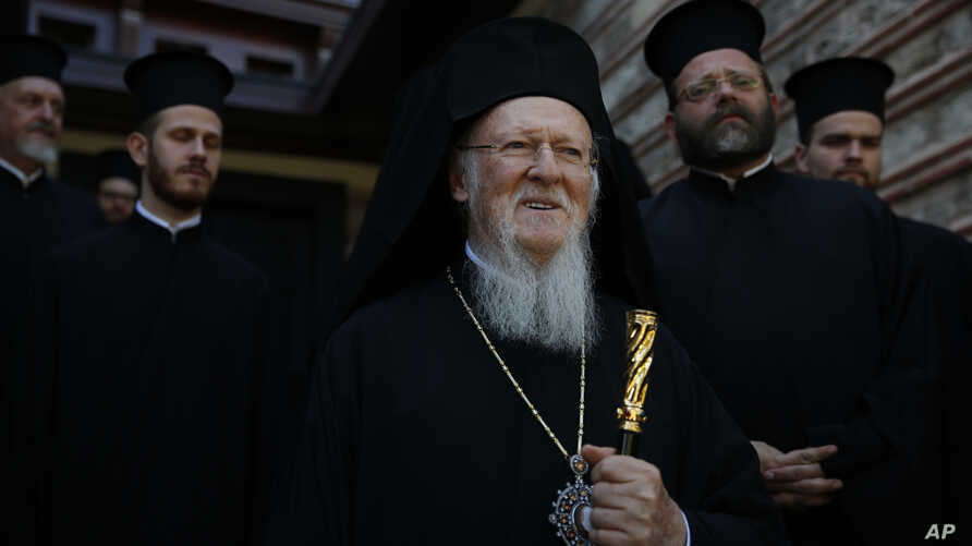 Ecumenical Patriarch Bartholomew I, stands at the patriarchate in Istanbul, Nov. 3, 2018.