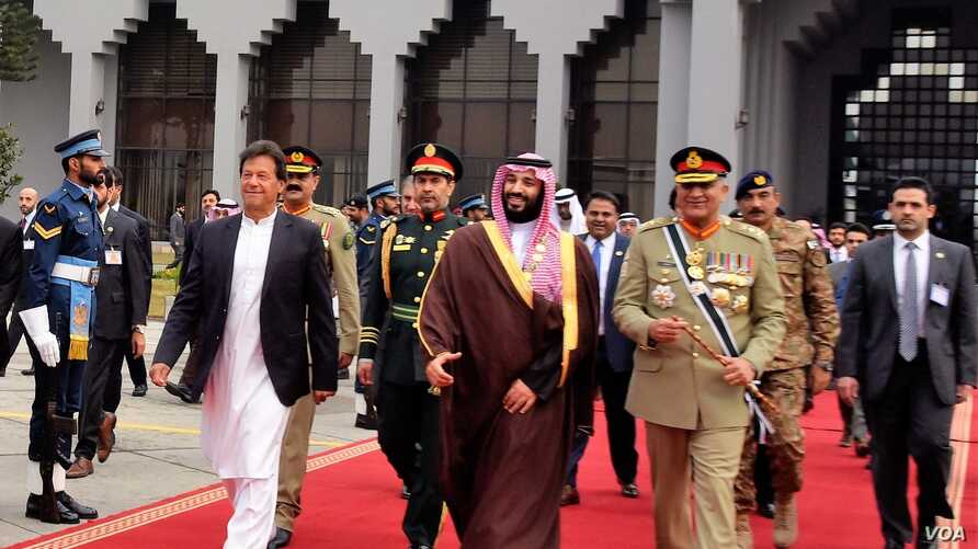 Saudi Crown Prince Mohammd bin Salmand ends his official visit, Feb 18, 2019, and is seen off by Prime Minister Khan and Army chief, Gen. Qamar Bajwa at Islamabad's Nur Khan Air Force base.
