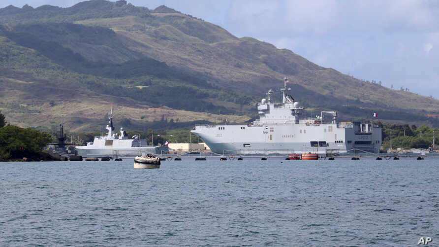 French Navy ships sit in port at Naval Base Guam, May 12, 2017. Joint Region Marianas Chief of Staff Capt. Jeff Grimes announced Friday that joint exercises involving the U.S., U.K., France and Japan at the U.S. Pacific island of Guam have been indef
