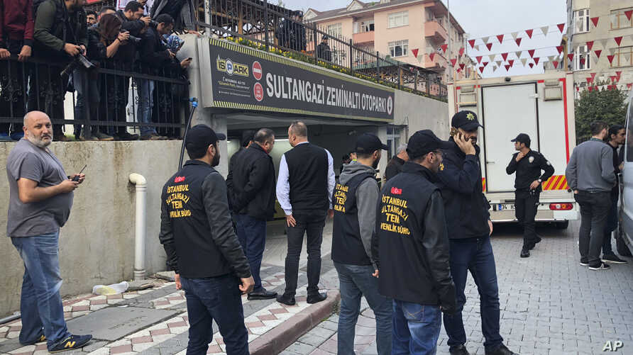 Turkish police cordon off an area close to an underground car park,  where authorities earlier found a vehicle belonging to the Saudi Consulate, in Istanbul, Oct. 22, 2018.