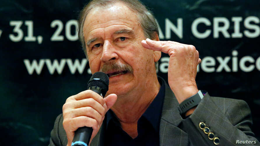 Former Mexican President Vicente Fox gestures during a news conference to announce the cannabis forum CannaMexico World Summit in Mexico City, April 11, 2018.