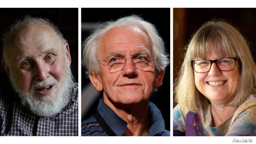 A combination picture shows the Nobel Prize for Physics 2018 award winners (L-R) Arthur Ashkin of the U.S., Gerard Mourou of France and Donna Strickland of Canada, Oct. 2, 2018.