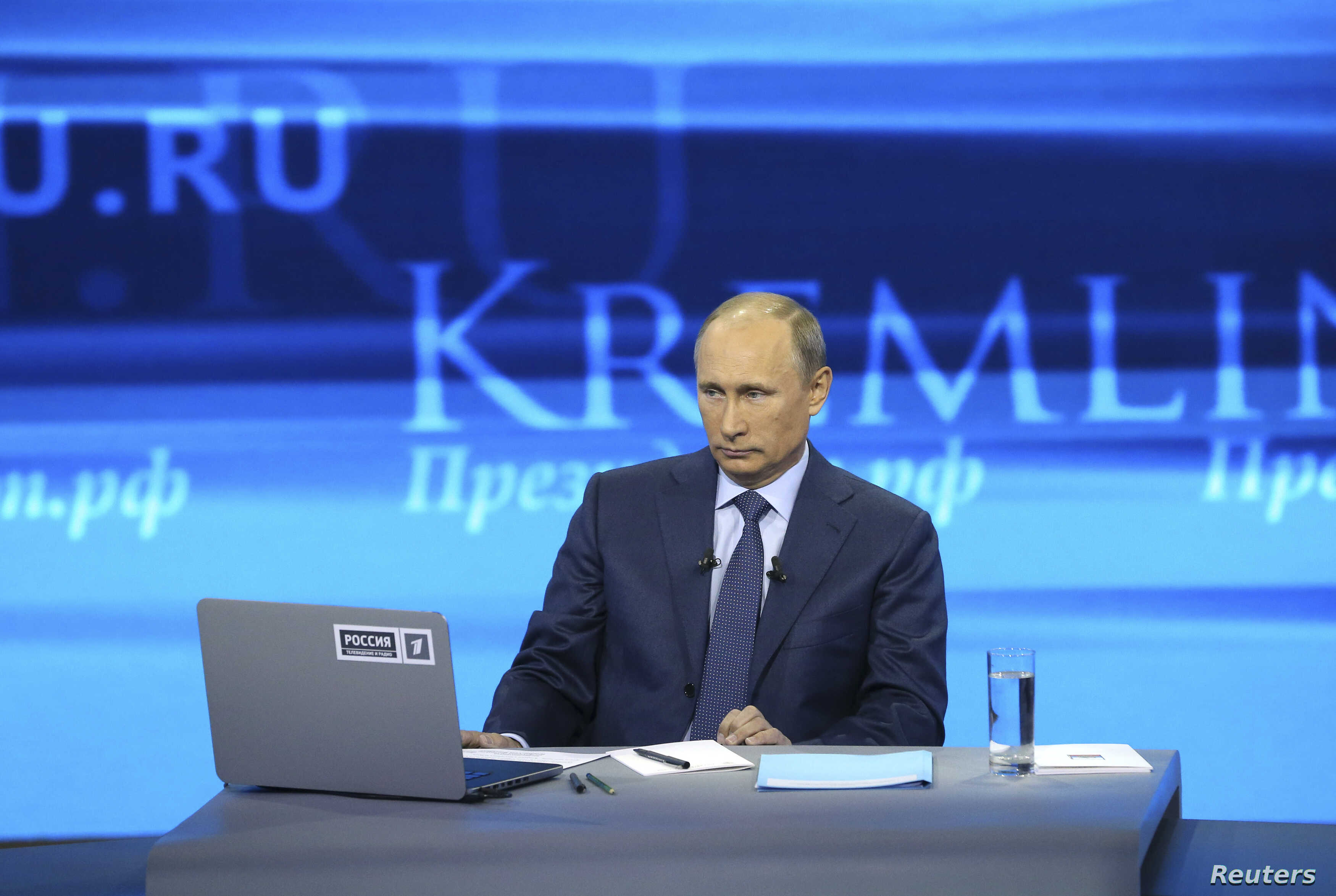 Russian President Vladimir Putin takes part in a live broadcast nationwide phone-in in Moscow, April 25, 2013.
