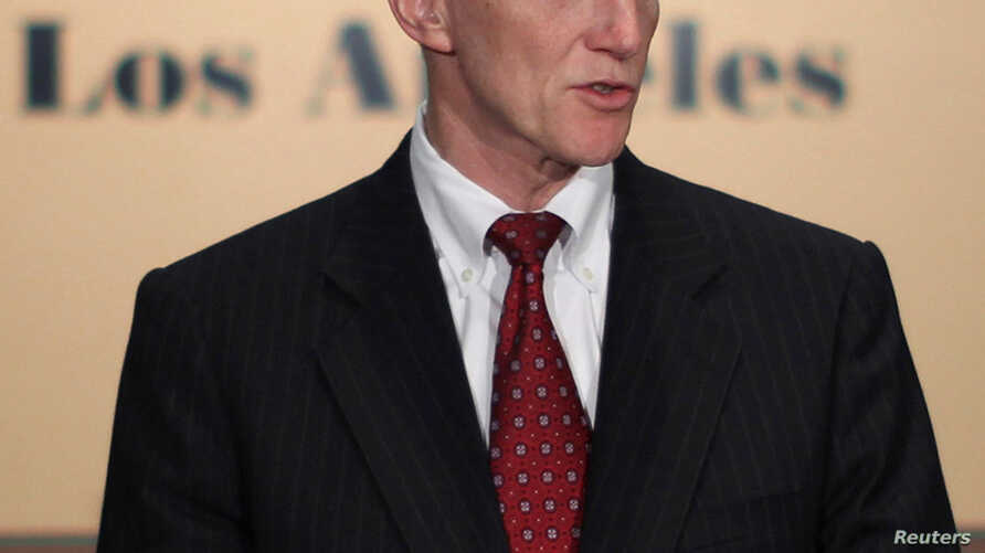 FILE -Transportation Security Administration Administrator John Pistole addresses a news conference in Los Angeles, California.