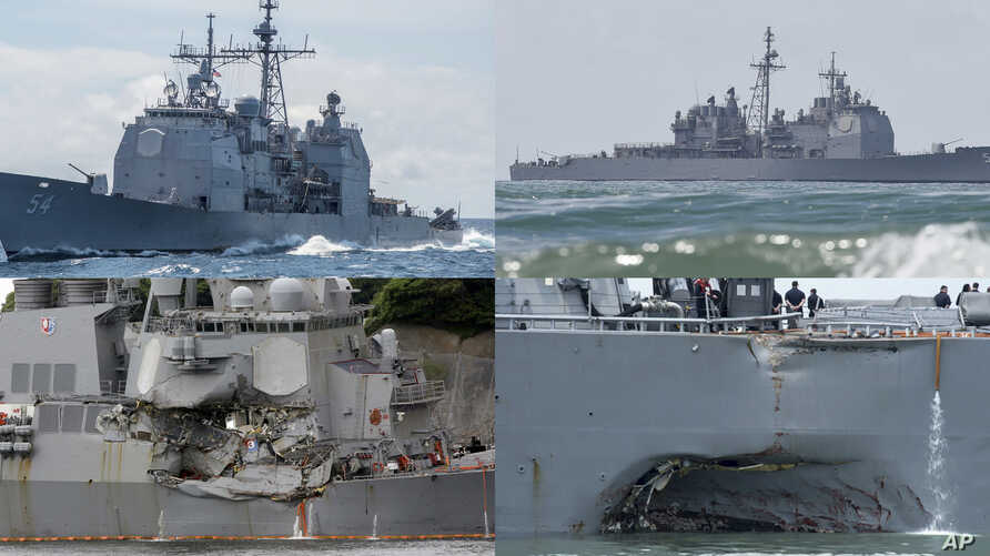 This combination of file photos show U.S. Navy ships the USS Antietam, top left; the USS Lake Champlain, top right; the USS Fitzgerald, bottom left; and the USS John S. McCain. Navy ships have been in at least four accidents in the Pacific this year....