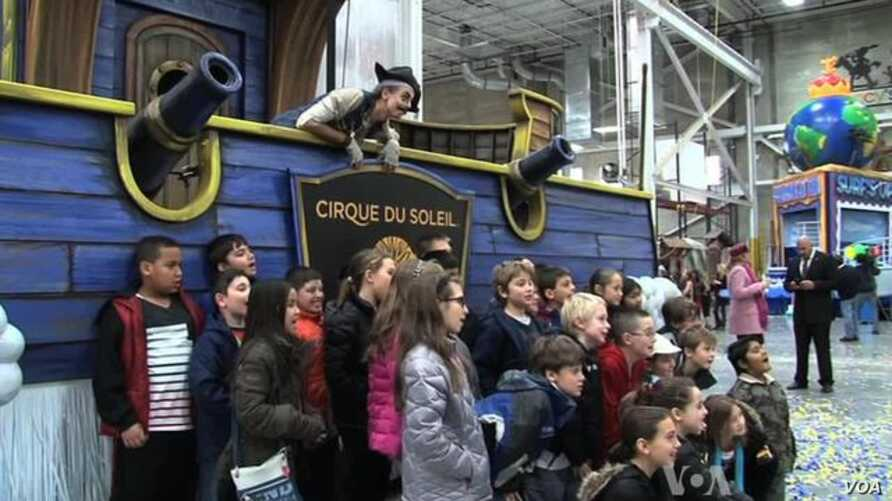 Children Ogle at Floats for Thanksgiving Day Parade