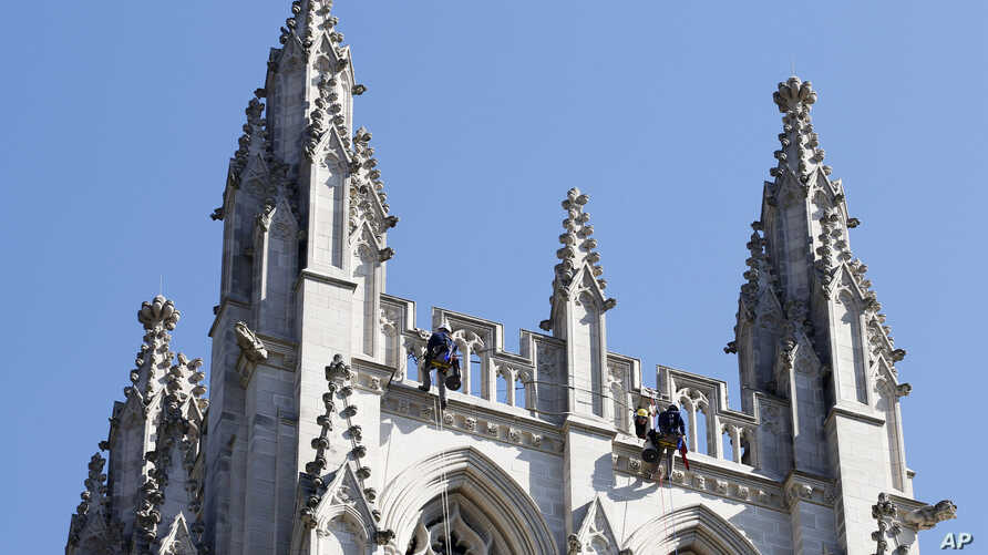 FILE - The facade of the Washington National Cathedral in Washington.