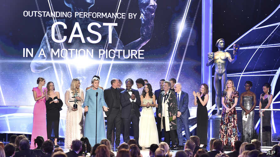 "Frances McDormand and the cast of ""Three Billboards Outside Ebbing, Missouri"" accept the award for outstanding performance by a cast in a motion picture at the 24th annual Screen Actors Guild Awards at the Shrine Auditorium & Expo Hall on Sunday, Jan"