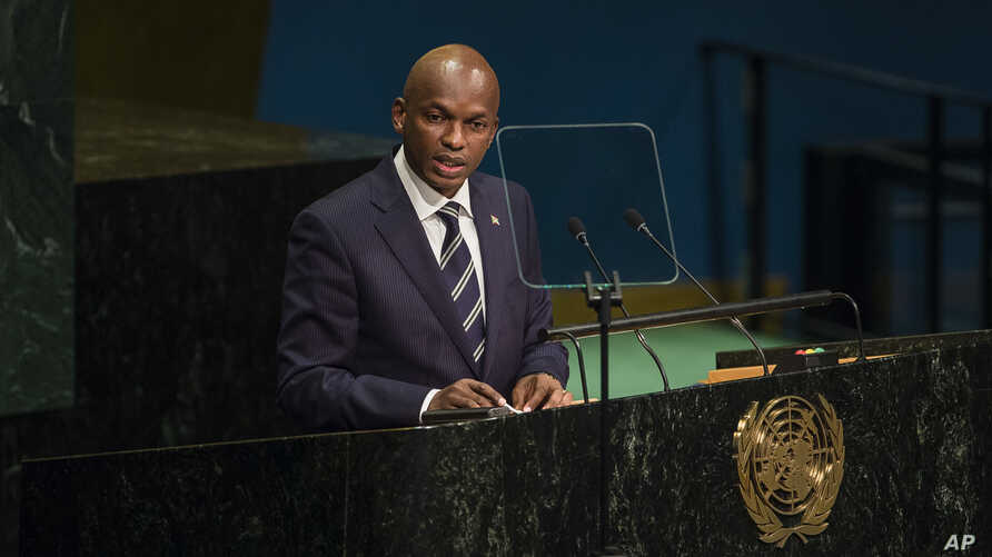 """FILE - Burundi's Foreign Minister Alain Nyamitwe addresses the United Nations General Assembly at U.N. headquarters in New York, Sept. 24, 2016. Nyamitwe claims there are """"politically motivated reasons which have pushed the ICC to act on African case"""