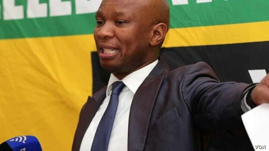 FILE - African National Congress spokesman Zizi Kodwa is seen delivering a speech in a photo taken from his Twitter feed @zizikodwa.