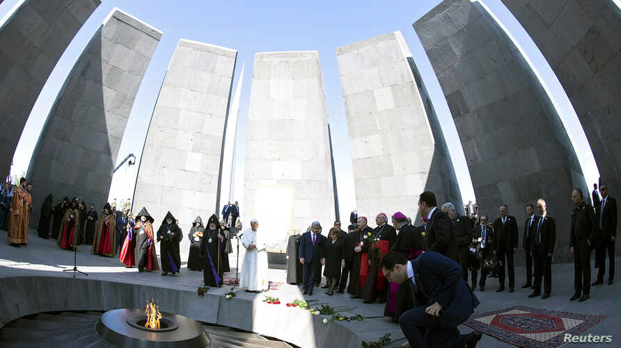 Pope Francis and Catholicos of All Armenians Karekin II attend a ceremony in commemoration of Armenians killed by Ottoman forces during World War One at the Tzitzernakaberd Genocide Memorial in Yerevan, Armenia, June 25, 2016.