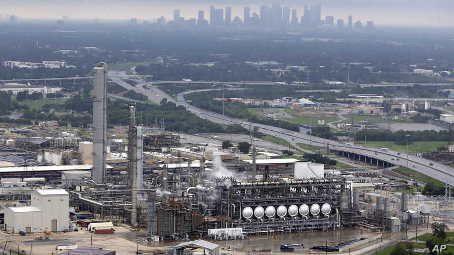 This aerial photo shows the Flint Hills Resources oil refinery near downtown Houston, Aug. 29, 2017. Hurricane Harvey has paralyzed at least 4.4 million barrels per day of refining capacity.