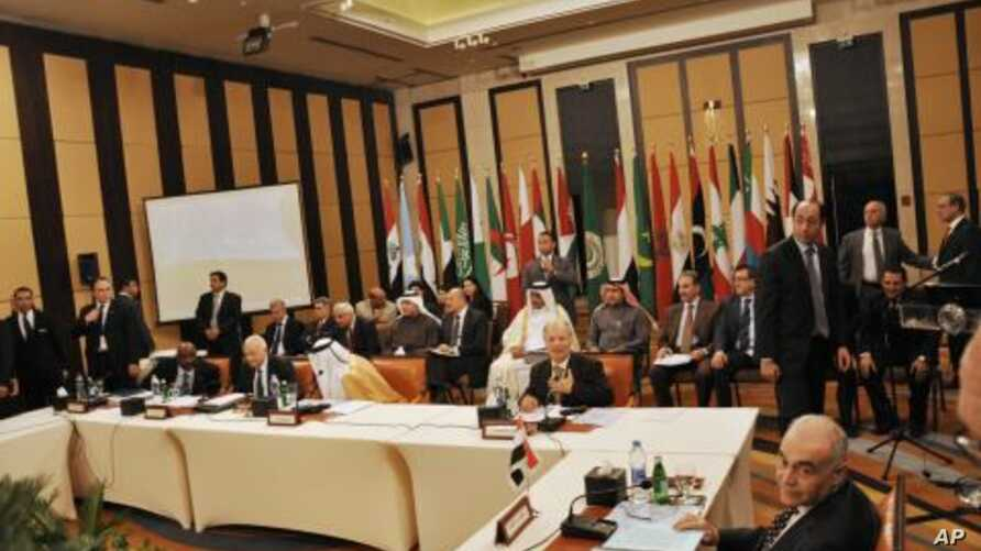 Members of the Arab League hold a meeting on Syria in Cairo, Egypt, January 8, 2012.