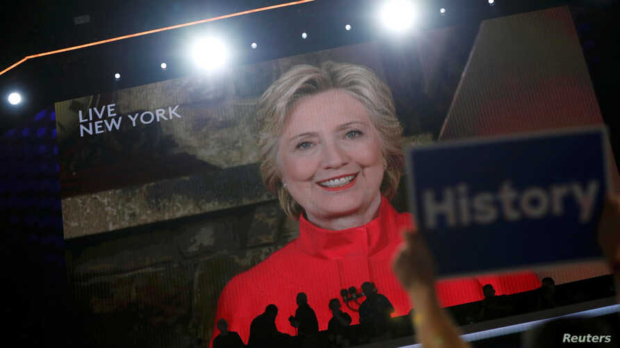 Democratic presidential nominee Hillary Clinton addresses the Democratic National Convention via a live video feed from New York during the second night at the Democratic National Convention in Philadelphia, Pennsylvania, U.S. July 26, 2016.