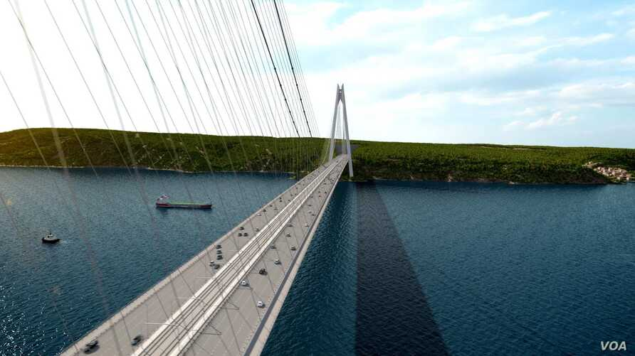 A computer model of the proposed Yavuz Sultan Selim Bridge. Once built, the bridge would be the widest in the world and it would be the third spanning the Bosphorus Strait, which connects Europe and Asia.