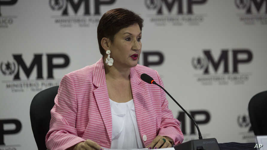FILE - Guatemala's Attorney General Thelma Aldana speaks during a joint news conference with the commissioner of the United Nations International Commission Against Impunity, CICIG, in Guatemala City, April 19, 2018.