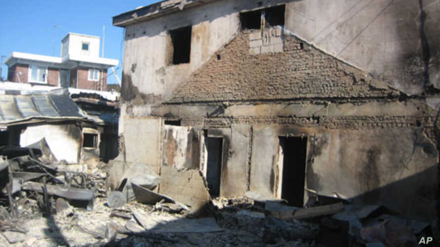 A bombed out house island of Yeonpyeong that was struck by North Korean artillery, 30 Nov 2010