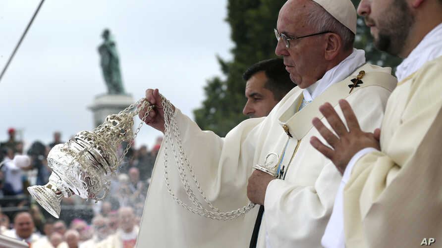 Pope Francis asperges incense on the altar as he celebrates a mass in Czestochowa, Poland on July 28, 2016.