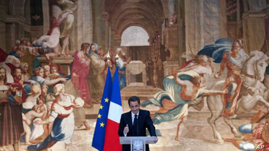 French President Nicolas Sarkozy delivers his New Year address to religious representatives at the Elysee Palace in Paris, 07 Jan 2011