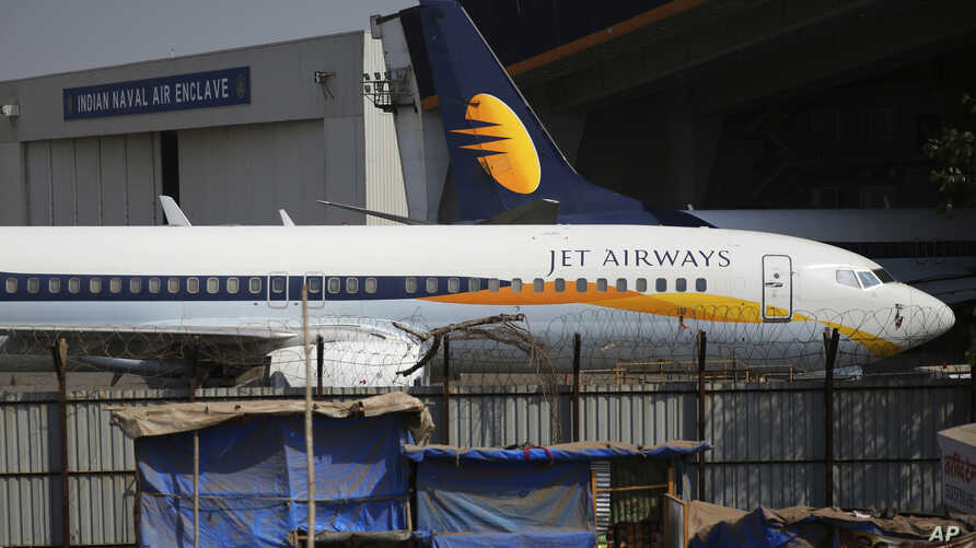 A Jet Airways aircraft is seen parked at a hanger at Chhatrapati Shivaji Maharaj International Airport in Mumbai, March 25, 2019.