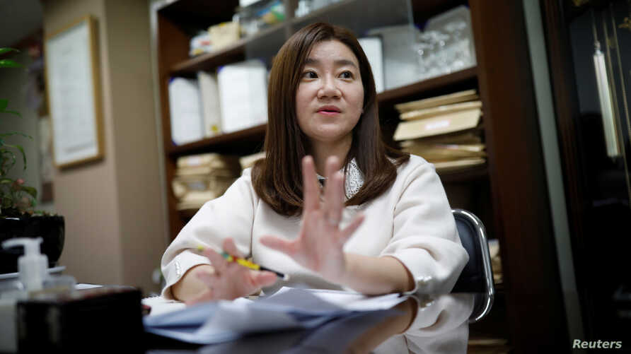 Lee Eun-eui who used to be a Samsung employee and is currently a lawyer, speaks during an interview with Reuters in Seoul, South Korea, March 8, 2018.