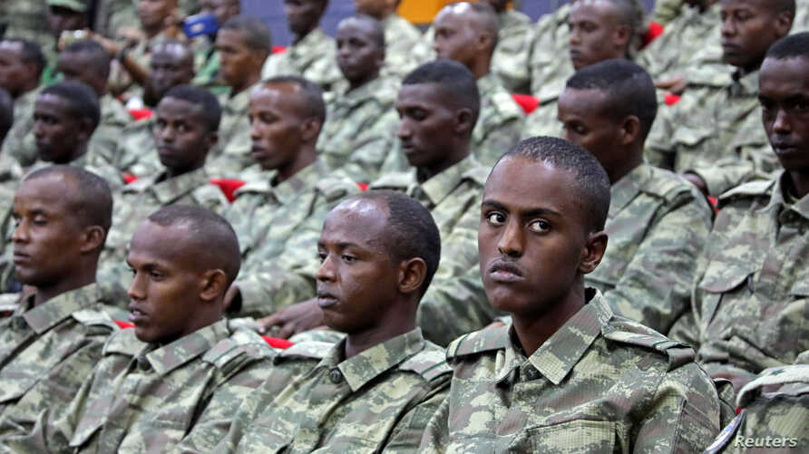 Somali soldiers attend a training session during the opening ceremony of a Turkish military base in Mogadishu, Somalia, September 30, 2017.