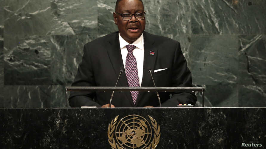 Malawi President Peter Mutharika, shown addressing the United Nations General Assembly in New York, Sept. 20, 2016., offered his country answers to its food shortage during a speech to the nation, Nov. 21, 2016.