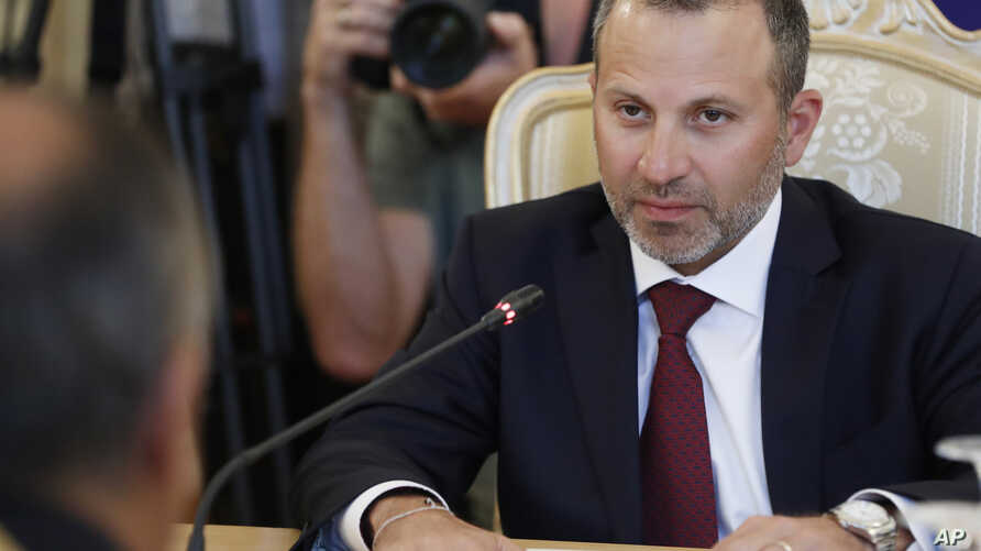 Lebanon's Foreign Minister Gebran Bassil, attends his meeting with Russian Foreign Minister Sergei Lavrov in Moscow, Russia, Aug. 20, 2018.