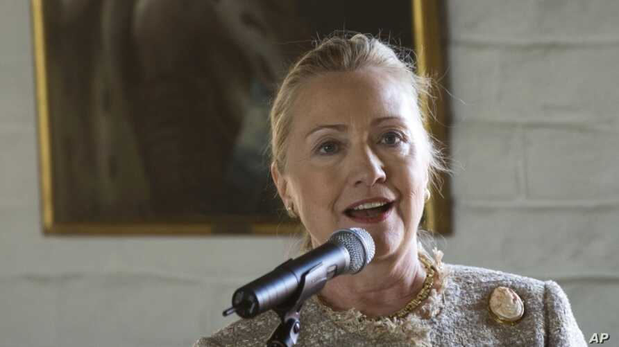 US Secretary of State Hillary Rodham Clinton gives a speach in Oslo, Norway, Friday June 1, 2012.