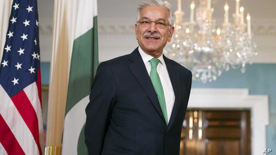 Pakistani Foreign Minister Khawaja Asif during a meeting with Secretary of State Rex Tillerson at the State Department in Washington, Oct. 4, 2017.