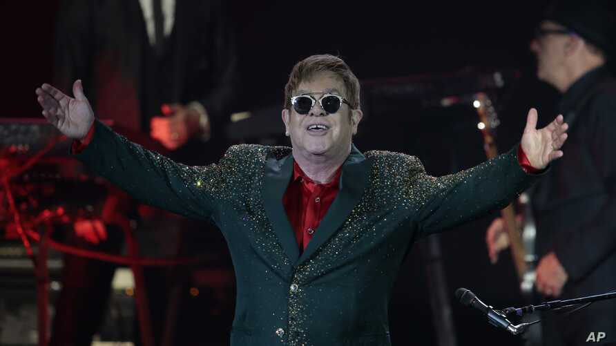 Musician Elton John performs at a concert in the Crocus City Hall outside Moscow, Russia, May 30, 2016.