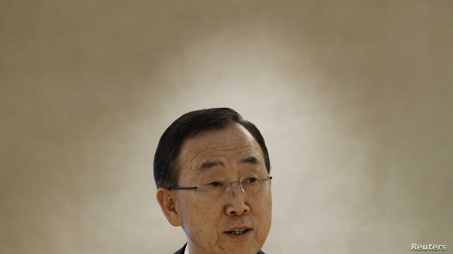 U.N. Secretary-General Ban Ki-moon delivers a speech during a session of the Human Rights Council at the United Nations European headquarters in Geneva September 10, 2012.