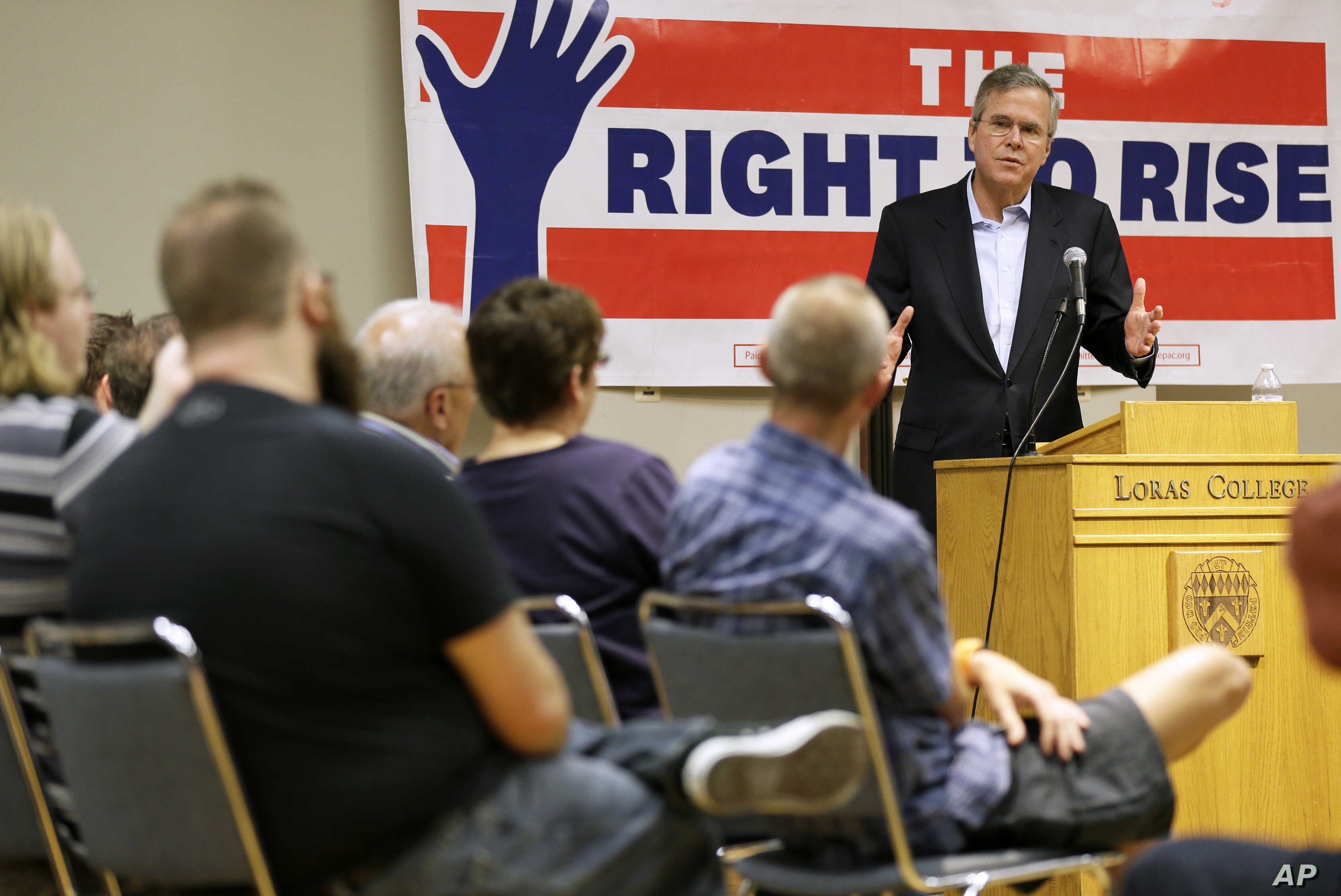 Former Florida Gov. Jeb Bush speaks during a town hall meeting, May 16, 2015, at Loras College in Dubuque, Iowa.