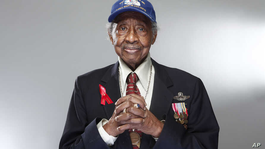 """Tuskegee airman Floyd Carter Sr. poses for a portrait during the """"Red Tails"""" junket, Jan. 10, 2012 in New York."""